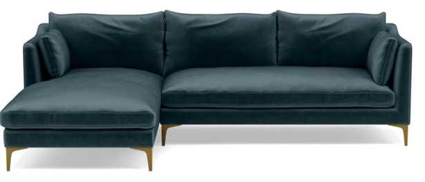 CAITLIN BY THE EVERYGIRL Sectional Sofa with Left Chaise - Sapphire - Brass Plated Sloan L Leg - Two Cushions - Interior Define