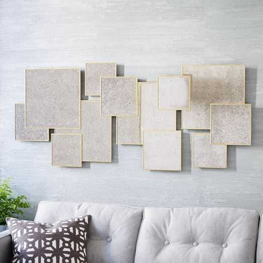 Overlapping Squares Mirror, Antique Brass - West Elm