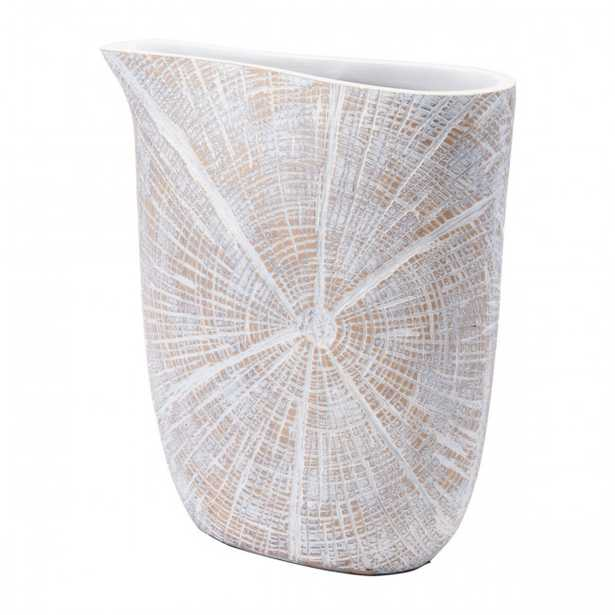 White Poly Jar Sm Antique Beige - Zuri Studios