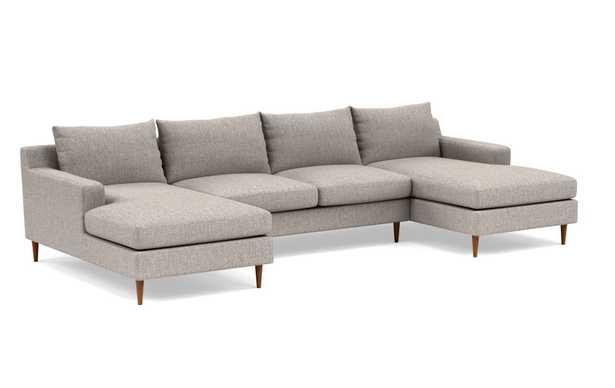 "SLOAN U-Sectional Sofa Oiled Walnut Tapered Round Leg, Earth cross weave, 129"" - Interior Define"