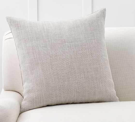 "Belgian Linen Pillow Cover, 20 x 20"", Pewter - Pottery Barn"