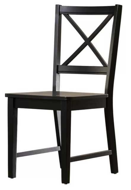 Powe Solid Wood Dining Chair (2 included) - Black - Wayfair