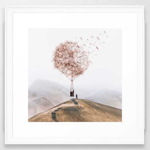 """Flying Dandelion Framed Art, 22""""x22"""", Scoop White Frame - Society6"""