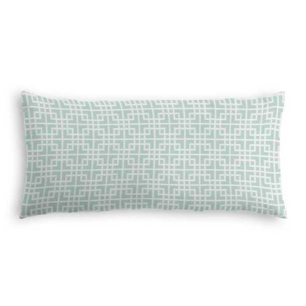 "Aqua Square Lattice Large Lumbar Pillow, 12"" x 24"" with Down Insert - Loom Decor"