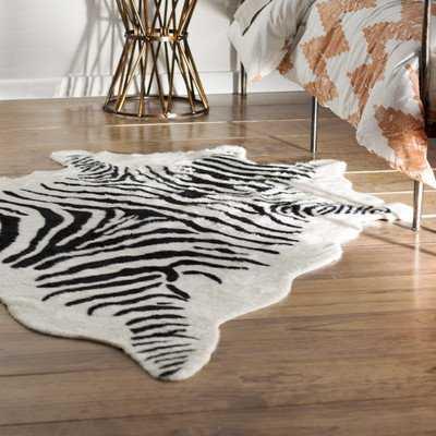 Hermosa Beach Hand-Tufted Faux Cowhide Zebra Black Area Rug - Wayfair