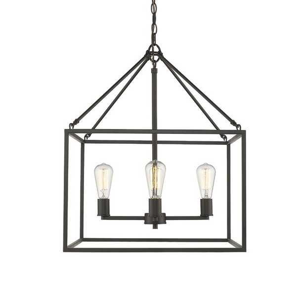 Rubbed Bronze Zabel 4 - Light Lantern Rectangle Chandelier - Wayfair