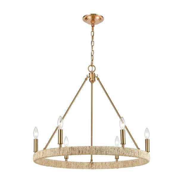 Abaca 6-Light Chandelier in Satin Brass - Burke Decor