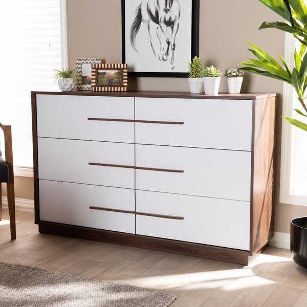Johnathon Mid-Century Modern Wood 6 Drawer Dresser - Wayfair