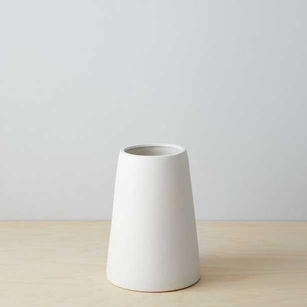 Pure White Ceramic Vase, Squat, White - West Elm