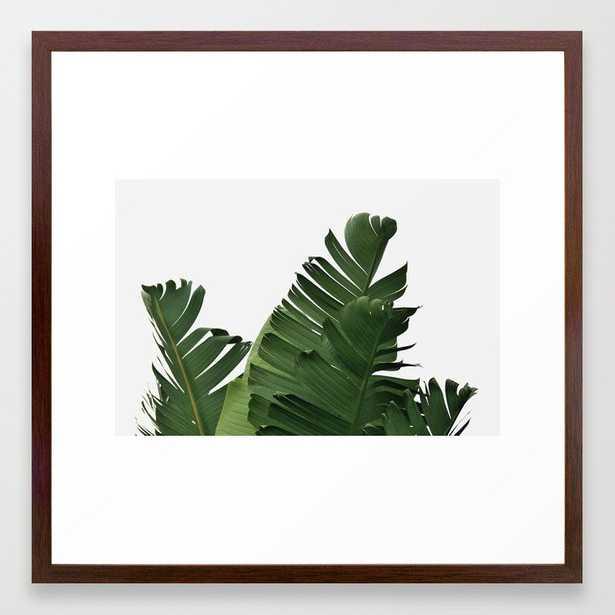 Minimal Banana Leaves Framed Art Print - 22 x 22 - Conservative Walnut Frame - Society6