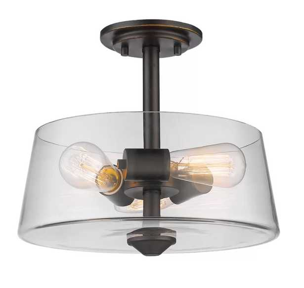 Clayton 3-Light Drum/Cylinder Semi Flush Mount - AllModern