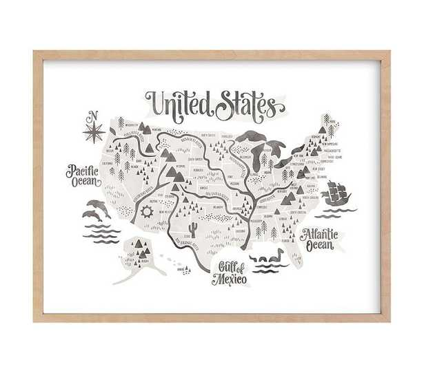 Pirate Map Wall Art by Minted(R), Natural, 24x18 - Pottery Barn Kids