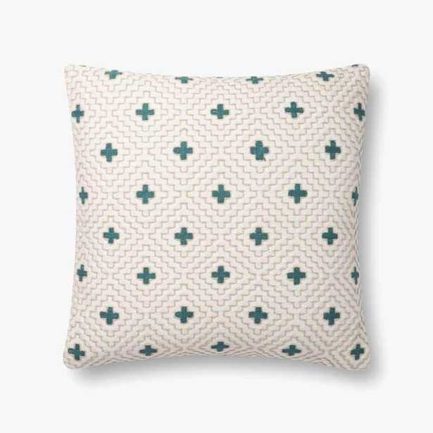 P0816 IVORY / BLUE Pillow - Loma Threads