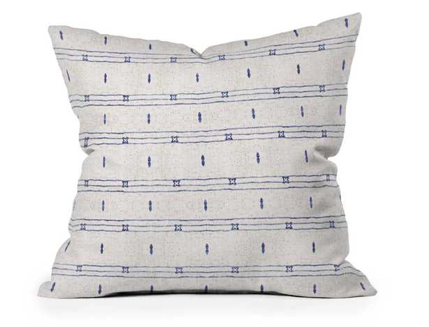 FRENCH LINEN STRIPE NAVY - 20x20 - WITH INSERT - Wander Print Co.