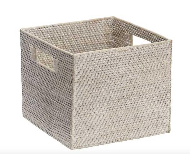 Modern Weave Storage Bin, Whitewash - West Elm