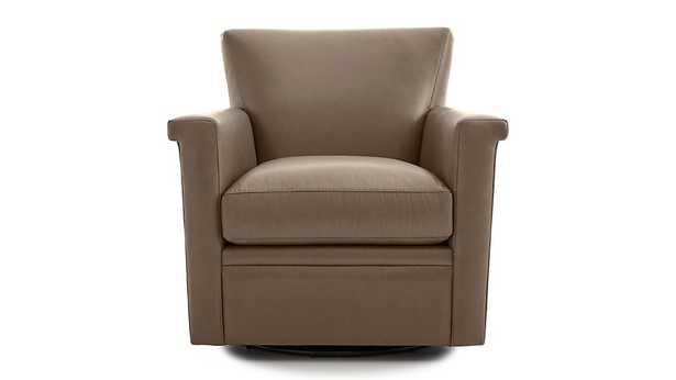 Declan Leather 360 Swivel Chair, Smoke - Crate and Barrel