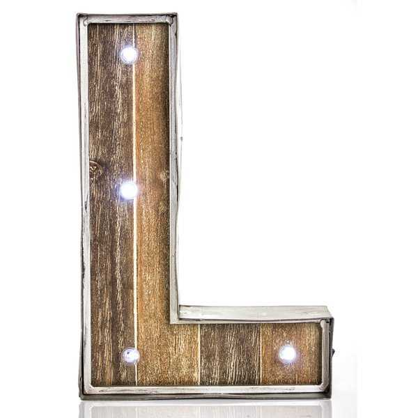Letter L Wood/Metal LED Marquee Sign - Wayfair