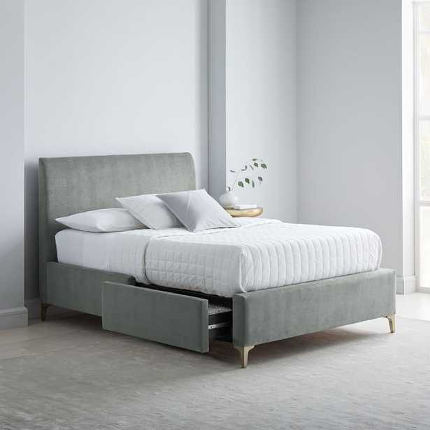 Andes Deco Upholstered Storage Bed, King, Performance Washed Canvas, Feather Gray, Light Bronze - West Elm