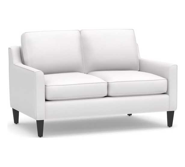 """Beverly Upholstered Loveseat 56"""", Polyester Wrapped Cushions, Performance Twill White - Pottery Barn"""