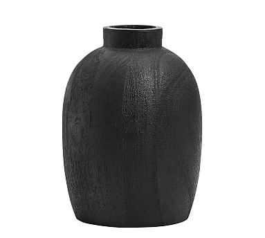 Burned Wooden Vase, Black, Small - Pottery Barn