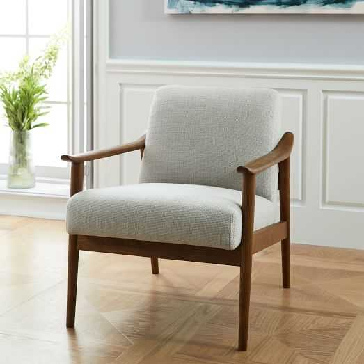 Mid-Century Show Wood Chair, Performance Basketweave, Natural - West Elm