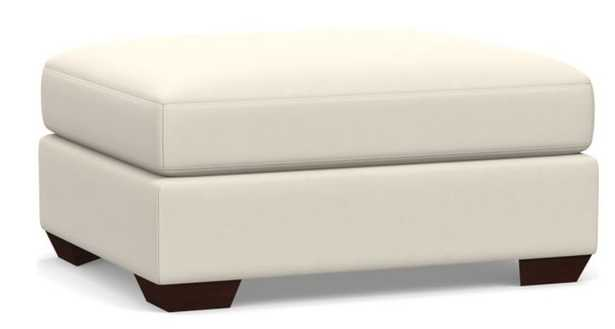 Big Sur Slope Arm Leather Sectional Ottoman, Down Blend Wrapped Cushions, Signature Chalk - Pottery Barn