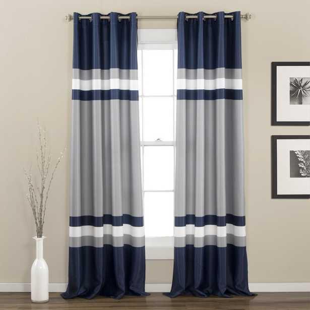 Reedsville Striped Room Darkening Thermal Grommet Curtain Panels (Set of 2), Navy - Wayfair