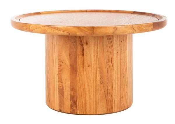 Devin Round Pedestal Coffee Table - Natural Brown - Arlo Home - Arlo Home