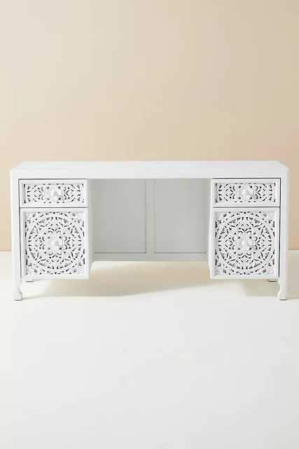 Handcarved Lombok Executive Desk By Anthropologie in White - Anthropologie