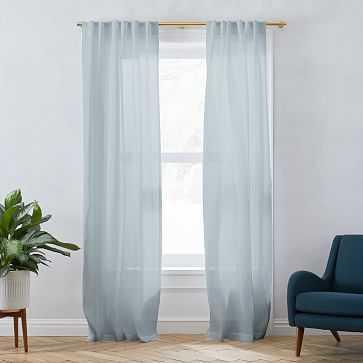 "Sheer Belgian Linen Curtain Washed Blue Gemstone 48""x84"" - West Elm"