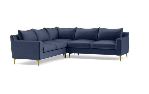 SLOAN Corner 4-Seat Sectional Sofa; Bergen Blue; Brass Plated L Leg - Interior Define