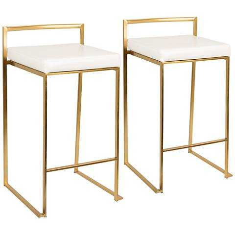 """Fuji 27"""" White Faux Leather Stools- Set of Two - Lamps Plus"""