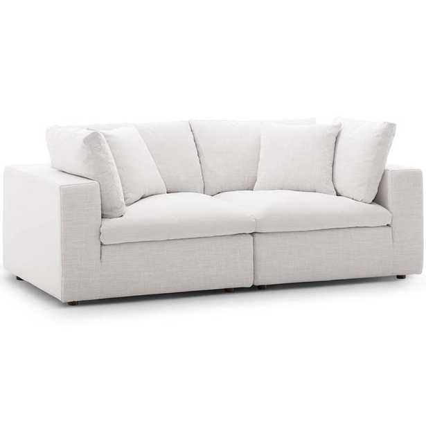 COMMIX DOWN FILLED OVERSTUFFED 2 PIECE SECTIONAL SOFA SET IN BEIGE - Modway Furniture
