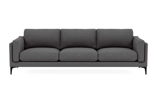 "GABY 3-Seat Sofa - 104"" - Mushroom Crossweave, Matte Black Sloan L Leg - Interior Define"