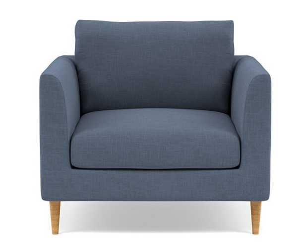Owens Accent Chair with river slub weave and natural oak legs - Interior Define