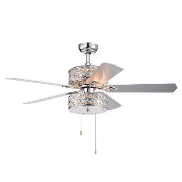 """52"""" Parma Chandelier 5 Blade Ceiling Fan, Light Kit Included - Wayfair"""