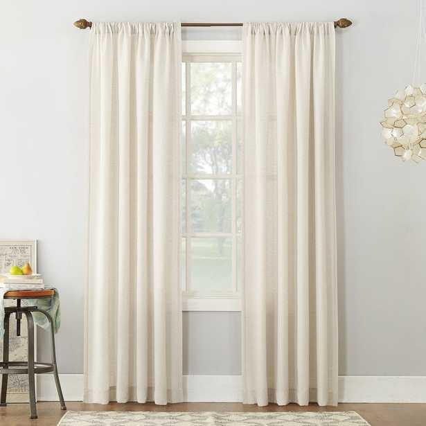"Berwick Linen Blend Solid Semi-Sheer Rod Pocket Single Curtain Panel - Ivory - 95"" - Wayfair"