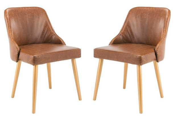 Lulu Upholstered Dining Chair (Set of 2) - Light Brown/Gold - Arlo Home - Arlo Home