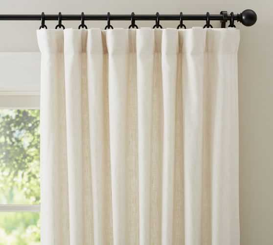 """Emery Linen/Cotton Pole-pocket Curtain in Ivory, 100"""" x 108"""" - Pottery Barn"""