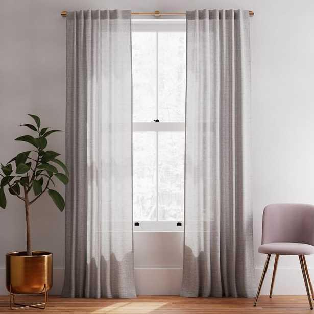 "Solid Belgian Linen Curtain Frost Gray 48""x96"" - West Elm"