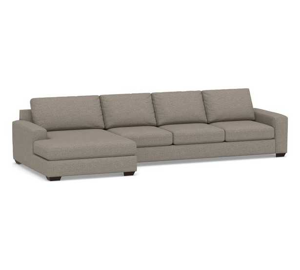 """Big Sur Square Arm Upholstered Right Arm Sofa with Left Arm Double Wide Multi-Seat Chaise Sectional - 156"""" width - Pottery Barn"""