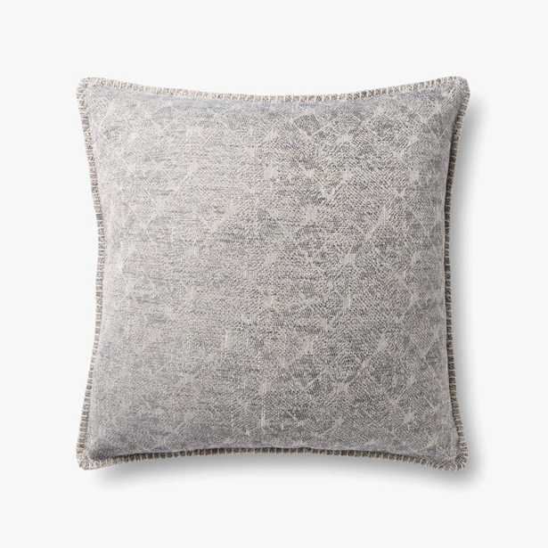 """Loloi PILLOWS P0890 Grey 22"""" x 22"""" Cover w/Poly - Loma Threads"""