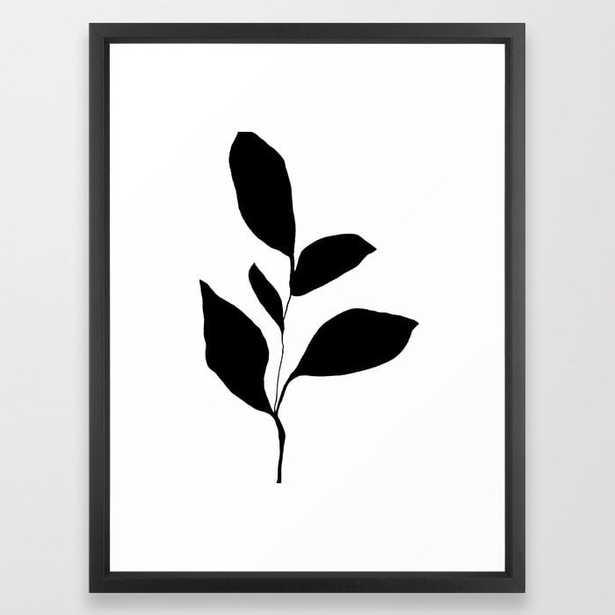 Five Leaf Plant Black Silhouette Framed Art Print - Society6