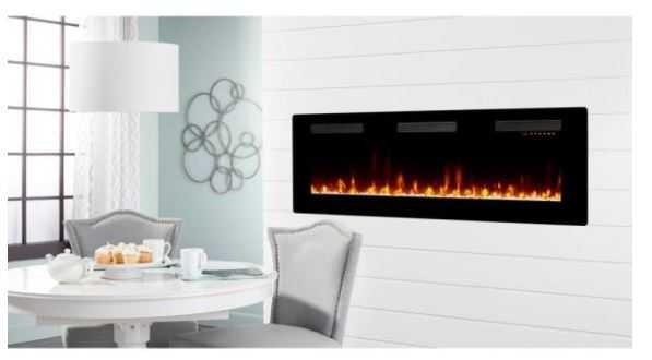 Sierra 60 in. Wall/Built-in Linear Electric Fireplace in Black - Home Depot