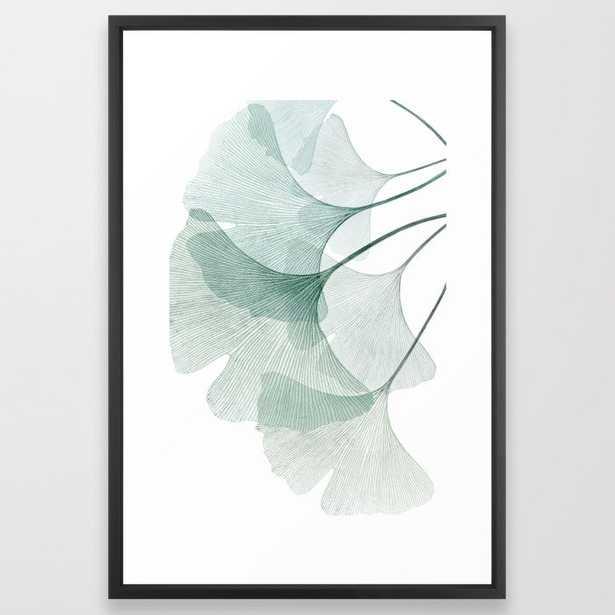 "Teal Ginkgo Leaves Framed Art Print, 26"" x 38"" - Society6"
