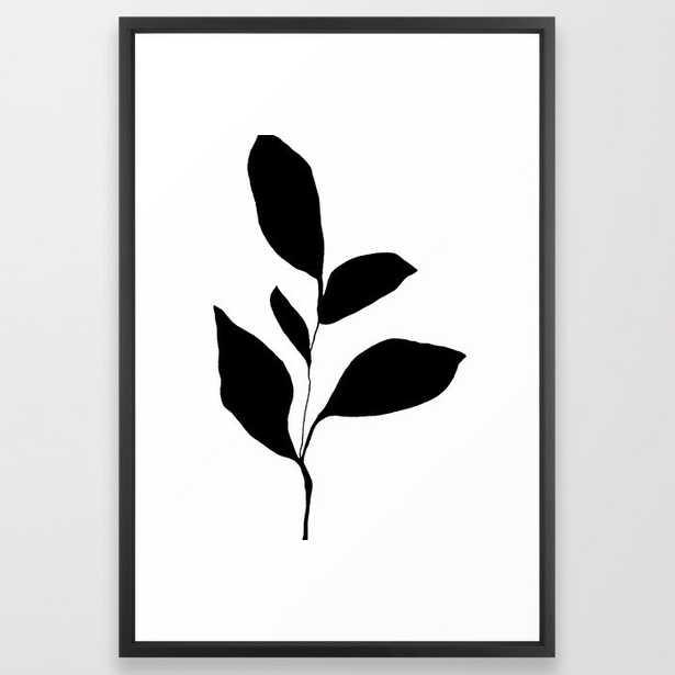 Five Leaf Plant Black Silhouette Framed Art Print - 26x38 - Society6