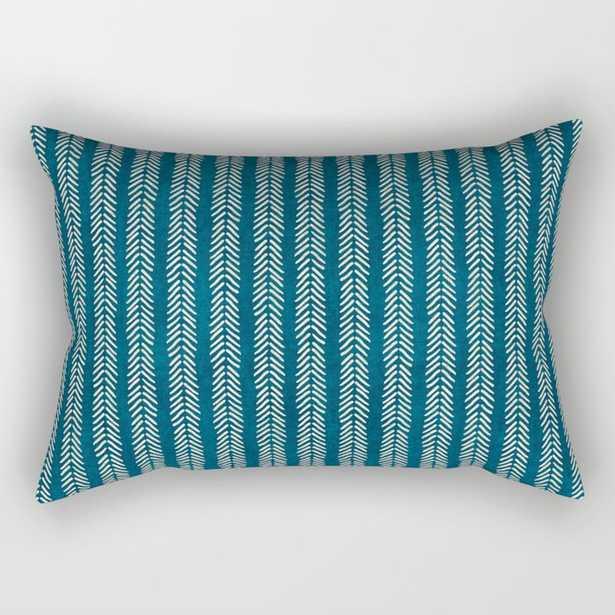 Mud cloth Teal Arrowheads Rectangular Pillow - Society6