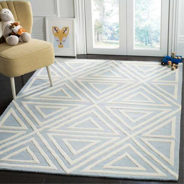Brenner Hand-Tufted Wool Blue/White/Ivory Triangles Area Rug - Wayfair