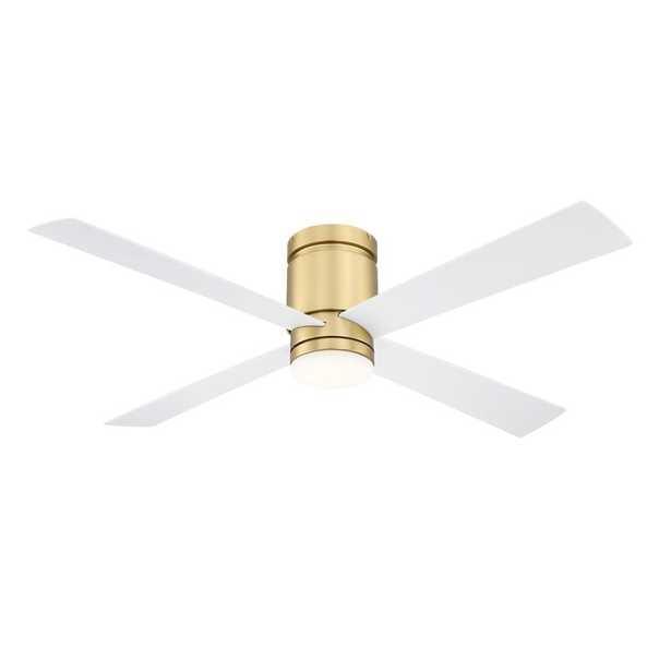 52'' Kwartet 4 - Blade LED Smart Flush Mount Ceiling Fan with Light Kit Included - Wayfair