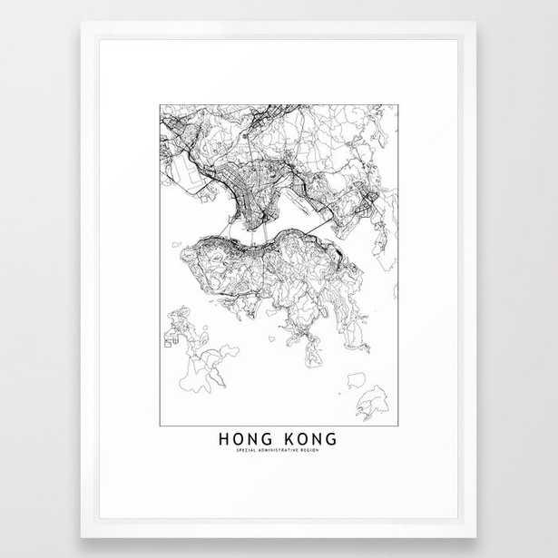 Hong Kong White Map Framed Art Print - Society6